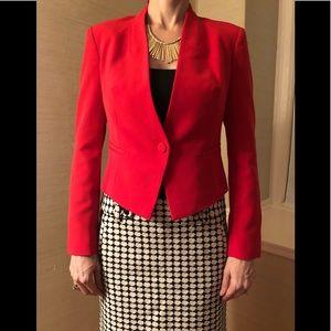 Rachel Roy red one button cropped blazer